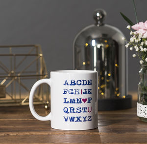 An 'I Love You' Alphabet Ceramic Mug