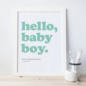 'Hello Baby Boy' / 'Hello Baby Girl' Personalised Print - home accessories