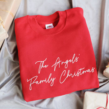 Personalised Family Christmas Sweatshirt In Red