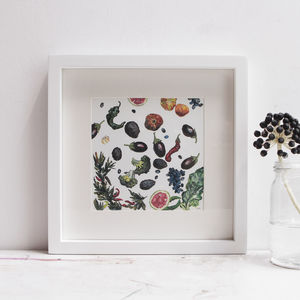 Miniature Vegetable Painting With Avocado And Aubergine - canvas prints & art