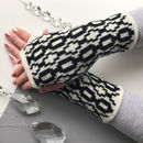 Monochrome Lambswool Knitted Fingerless Gloves