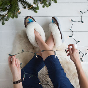 White Sheepskin Slippers With Turquoise Embroidery - women's fashion