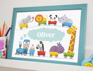 Kids Personalised Print Train - pictures & prints for children