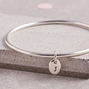 Sterling Silver Personalised Pebble Bangle
