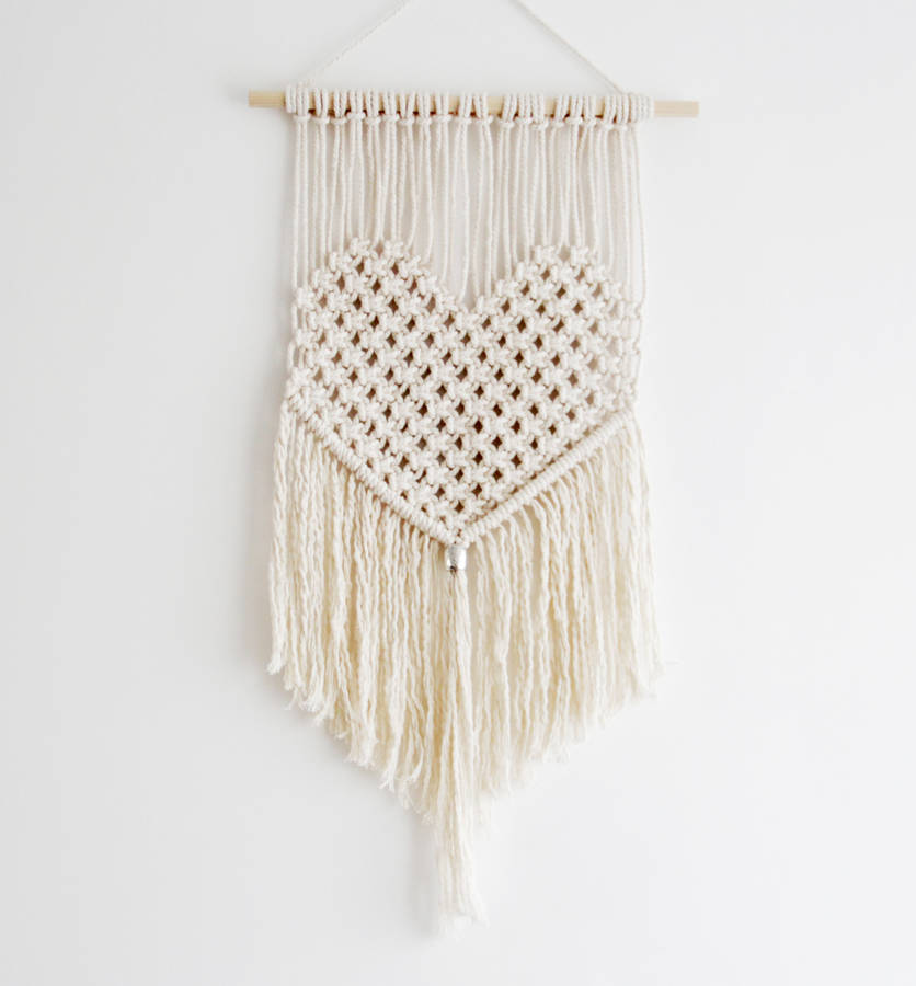 Heart macrame wall hanging by tent living for Wall hanging
