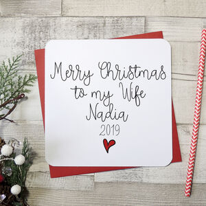 'Merry Christmas To My Wife Personalised Script Card