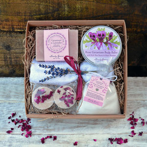A Rose Geranium And Lavender Bath And Beauty Gift Set - soap gift sets