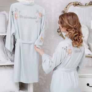 Personalised Bridal Floral Embroidered Robe - lounge & activewear