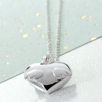 Angel Winged Heart Necklace In Sterling Silver