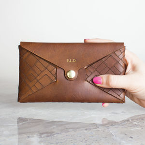 Personalised Leather Purse Wallet Geometric