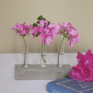 Three Test Tube Vases In A Concrete Base - flowers, plants & vases