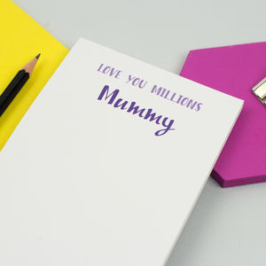 Personalised 'Love You Millions' Notepad - gifts from younger children
