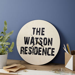 Personalised Residence Clock - bedroom