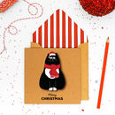 Christmas Personalised Santa Black Cat Card Or Pack