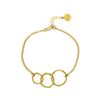 Hawthorn Twig Triple Circle Infinity Bracelet Gold
