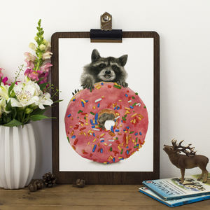 Raccoon Donut Print - children's room