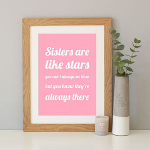 'Sisters Are Like Stars' Gift Print - canvas prints & art