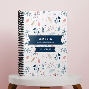 Personalised Leaf Combined Diary And Notebook