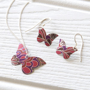 Red Paradise Butterfly Pendant And Earrings Set