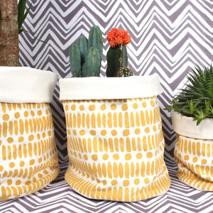 Dot Dash Canvas Storage Pot, Mustard