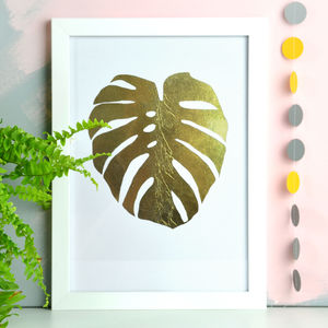 Gold Foil Monstera Leaf Print - children's room