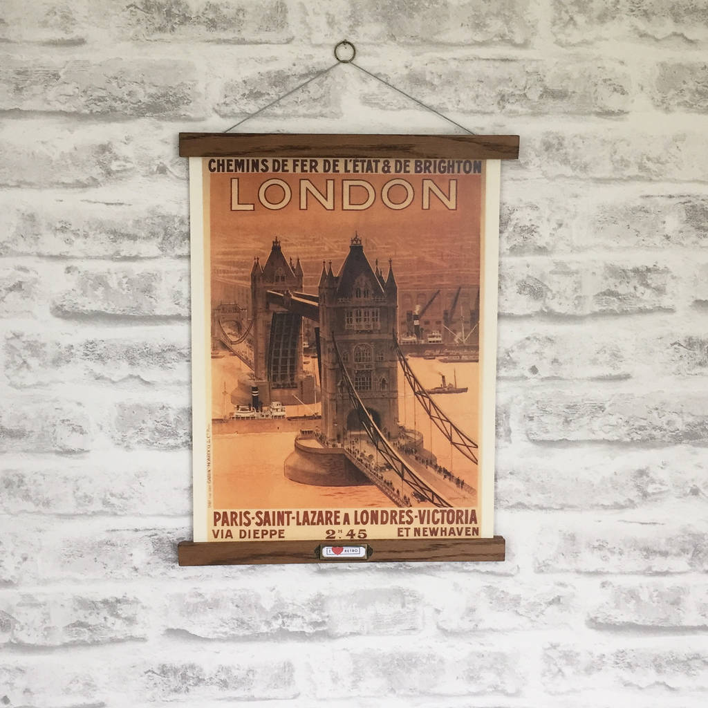 Retro London Tower Bridge Print With Oak Hanger