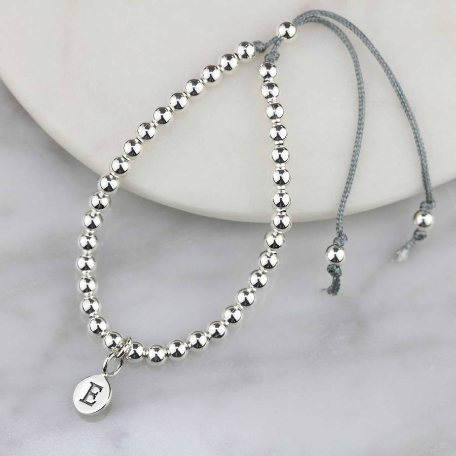 Personalised Silver Friendship Bracelet Grey