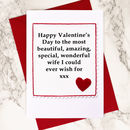 Handmade Valentines Card for Wife or Girlfriend, by Jenny Arnott Cards & Gifts