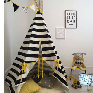 Children's Play Teepee In Monochrome Stripe - monochrome