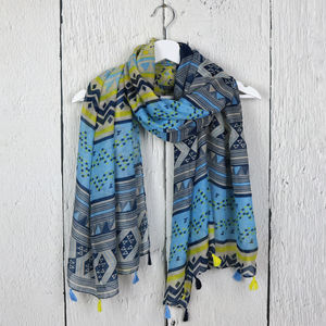 Aztec Print Tassel Scarf - women's accessories sale