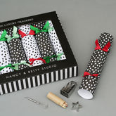 Six Luxury Spotty Christmas Crackers - christmas decorations