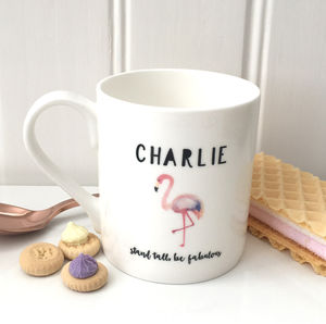Personalised Bone China Mug Flamingo Design