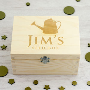 Personalised Wooden Seed Box - gifts for him