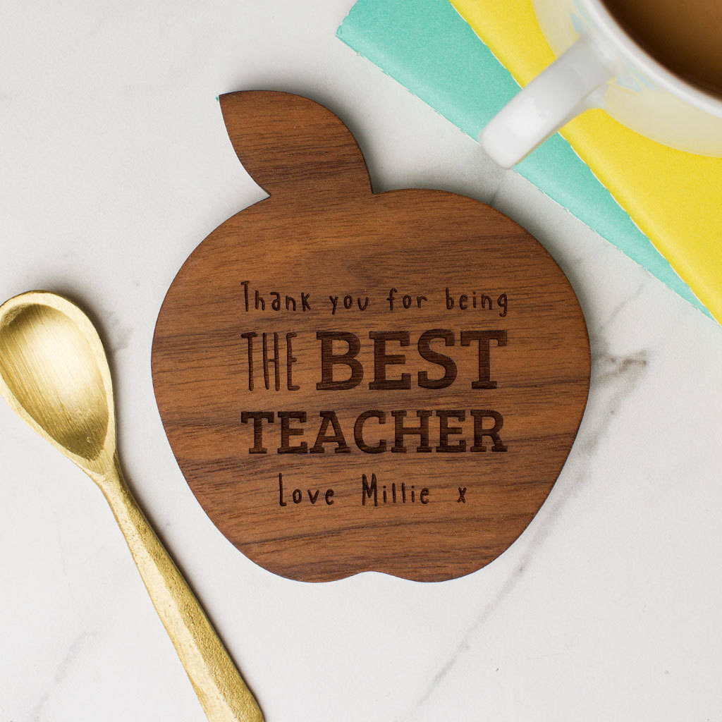Personalised Wooden Teacher Coaster Apple