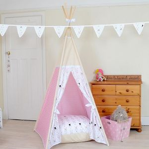 White Bunny And Pink Stripes Teepee Tent