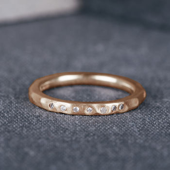 9ct Rose Gold Hammered Wedding Ring With Diamonds