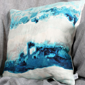 Watercolour Spring Tide Natural Linen Cushion - home updates under £50