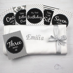 Monochrome Baby Gift Set For Baby Milestone Events - blankets, comforters & throws