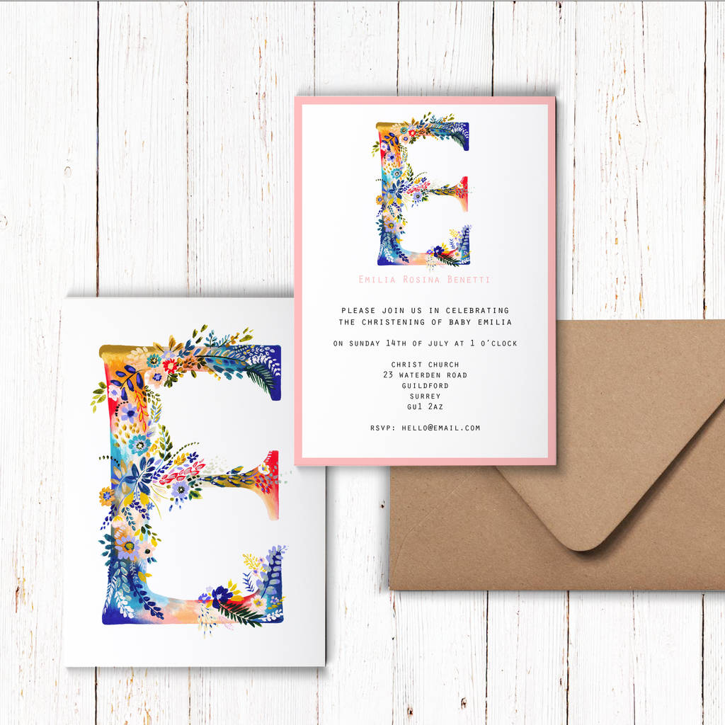 personalised painted floral letter party invitations by charlotte ...
