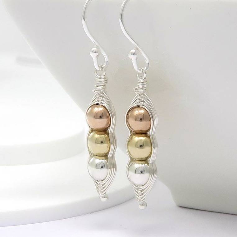 Peapod Earrings Mixed Metal