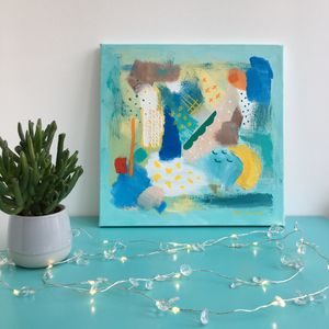 Girls Boys Wall Art Colourful Blue Abstract Painting