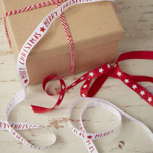 Red And White Merry Christmas And Star Ribbon Kit - gift wrap sets