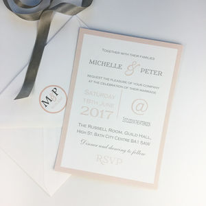 Modern Blush Pink And Grey Border Wedding Invitation