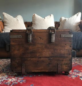 Upcycled Vintage Trunk Coffee Table On Wheels - coffee tables