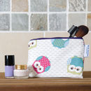 Owl Print Cosmetic Purse With Waterproof Lining