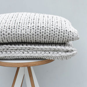 Hand Knitted Grey Rectangle Cushion - cushions