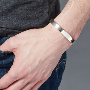 Men's Chunky Silver Torque Bangle - gifts for him