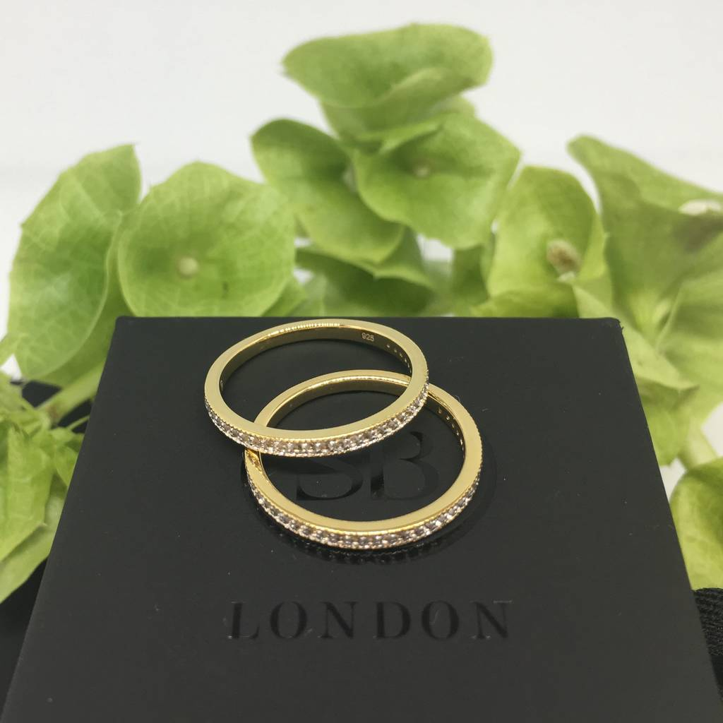 Gold Vermeil And White Topaz Eternity Ring