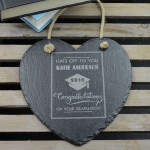 Graduation Personalised Slate Heart - graduation gifts