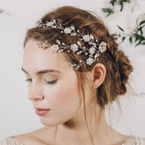 Trailing Flower Wedding Hairvine Blanche - bridal hairpieces